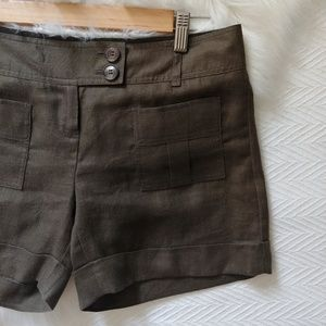 The Limited Olive linen cuffed shorts.